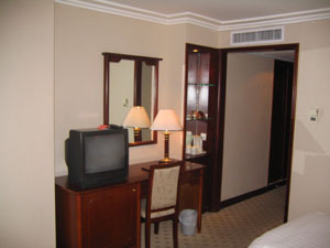 The hotel room towards the entrance